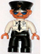 Minifig No: 47394pb045  Name: Duplo Figure Lego Ville, Male Pilot, Black Legs, White Top with Airplane Logo and Black Tie, Police Hat, Sunglasses