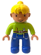Minifig No: 47394pb047  Name: Duplo Figure Lego Ville, Female, Blue Legs, Lime Top, Yellow Hair (Wendy)