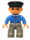 Minifig No: 47394pb052  Name: Duplo Figure Lego Ville, Male Post Office, Dark Bluish Gray Legs, Blue Jacket with Mail Horn, Black Police Hat
