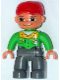 Minifig No: 47394pb059  Name: Duplo Figure Lego Ville, Male, Dark Bluish Gray Legs, Bright Green Button Down Shirt, Red Cap, Brown Eyes, Closed Mouth Smile (Mechanic)