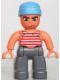 Minifig No: 47394pb060  Name: Duplo Figure Lego Ville, Male Pirate, Dark Bluish Gray Legs, Red and White White Striped Top, Medium Blue Cloth Wrap (Pirate)