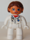 Minifig No: 47394pb064  Name: Duplo Figure Lego Ville, Female, Medic, White Legs, White Top with Pocket and EMT Star of Life Pattern, Reddish Brown Hair, Blue Eyes, White Hands