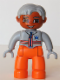 Minifig No: 47394pb065  Name: Duplo Figure Lego Ville, Male Medic, Orange Legs, Light Bluish Gray Top with Zipper and Stripes, Light Bluish Gray Hair, Light Bluish Gray Hands