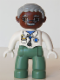 Minifig No: 47394pb066  Name: Duplo Figure Lego Ville, Male Medic, Sand Green Legs, White Top with Stethoscope, Light Bluish Gray Hair, Brown Head, Glasses, Moustache, White Hands