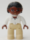 Minifig No: 47394pb070  Name: Duplo Figure Lego Ville, Female, Tan Legs, White Top with Buttons and Necklace, Black Hair, Brown Head