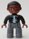 Minifig No: 47394pb071  Name: Duplo Figure Lego Ville, Male, Dark Bluish Gray Legs, Black Top with Buttons, Black Hair, Brown Head