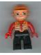 Minifig No: 47394pb072  Name: Duplo Figure Lego Ville, Male, Black Legs, Orange Vest, Orange Construction Helmet, Red Hands