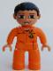 Minifig No: 47394pb073  Name: Duplo Figure Lego Ville, Male, Orange Legs, Flesh Hands, Orange Top with Recycle Logo, Black Hair, Blue Eyes