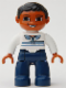 Minifig No: 47394pb074  Name: Duplo Figure Lego Ville, Male, Dark Blue Legs, White Top with Buttons and Stripes, Black Hair, Brown Eyes