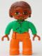 Minifig No: 47394pb075  Name: Duplo Figure Lego Ville, Female, Orange Legs, Bright Green Top with Buttons and Pockets, Reddish Brown Hair, Brown Eyes