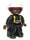 Minifig No: 47394pb076  Name: Duplo Figure Lego Ville, Male Fireman, Black Legs, Brown Hands, White Helmet, Brown Face