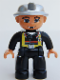 Minifig No: 47394pb077  Name: Duplo Figure Lego Ville, Male Fireman, Black Legs, Flesh Hands, Silver Helmet, Blue Eyes