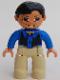 Minifig No: 47394pb078  Name: Duplo Figure Lego Ville, Male, Tan Legs, Blue Top, Black Vest, Black Hair