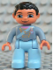Minifig No: 47394pb079  Name: Duplo Figure Lego Ville, Male, Light Blue Legs, Sand Blue Top with Strap, Gold Crown and Medium Blue Heart, Black Hair