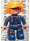 Minifig No: 47394pb082  Name: Duplo Figure Lego Ville, Male, Dark Blue Legs & Jumpsuit with Straps, Orange Cap with Headset