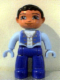 Minifig No: 47394pb085  Name: Duplo Figure Lego Ville, Male, Blue Legs, Light Blue Top with Straps and Key