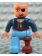 Minifig No: 47394pb089  Name: Duplo Figure Lego Ville, Male Pirate, Medium Blue Legs, Dark Blue Top with Buttons, Bald Head, Eyepatch, Peg Leg