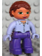 Minifig No: 47394pb091  Name: Duplo Figure Lego Ville, Female, Dark Purple Legs, Light Violet Top, Light Violet Hands, Reddish Brown Hair