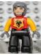 Minifig No: 47394pb092  Name: Duplo Figure Lego Ville, Male Castle, Black Legs, Red Chest, Bright Light Orange Arms, Dark Bluish Gray Hands, Wide Grin