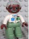 Minifig No: 47394pb094  Name: Duplo Figure Lego Ville, Male Medic, Sand Green Legs, White Top with Badge, Light Bluish Gray Hair, Brown Head, Glasses, Moustache
