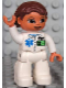Minifig No: 47394pb095  Name: Duplo Figure Lego Ville, Female, Medic, White Legs, White Top with ID Badge and EMT Star of Life Pattern, Reddish Brown Hair, Brown Eyes