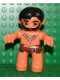 Minifig No: 47394pb097  Name: Duplo Figure Lego Ville, Male, Flesh Legs, Reddish Brown Hips, Tooth Necklace Pattern, Black Beard (Caveman)