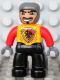 Minifig No: 47394pb099  Name: Duplo Figure Lego Ville, Male Castle, Black Legs, Bright Light Orange Chest, Red Arms, Dark Bluish Gray Hands, Wide Crooked Grin