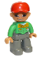 Minifig No: 47394pb101  Name: Duplo Figure Lego Ville, Male, Dark Bluish Gray Legs, Bright Green Button Down Shirt, Red Cap, Brown Eyes, Open Mouth Smile (Mechanic)