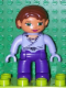 Minifig No: 47394pb104  Name: Duplo Figure Lego Ville, Female, Dark Purple Legs, Medium Violet Wrap Top with Necklace, Reddish Brown Hair, Medium Violet Hands