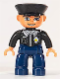 Minifig No: 47394pb107  Name: Duplo Figure Lego Ville, Male Police, Dark Blue Legs, Black Top with Badge, Black Arms, Light Flesh Hands, Black Hat, Blue Eyes