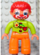 Minifig No: 47394pb109  Name: Duplo Figure Lego Ville, Male Clown, Orange Legs, Lime Top with Three Buttons and Flower, Red Hair, Blue Eyes