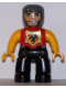 Minifig No: 47394pb112  Name: Duplo Figure Lego Ville, Male Castle, Black Legs, Red Chest with Dragon Emblem, Bright Light Orange Arms and Hands, Lefty Smile