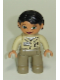 Minifig No: 47394pb116  Name: Duplo Figure Lego Ville, Female, Dark Tan Legs, Tan Top, Black Hair (Zoo Keeper)