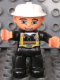Minifig No: 47394pb122  Name: Duplo Figure Lego Ville, Male Fireman, Black Legs, Flesh Hands, White Helmet, Blue Eyes