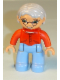 Minifig No: 47394pb123  Name: Duplo Figure Lego Ville, Female, Medium Blue Legs, Red Sweater, Very Light Gray Hair, Blue Eyes, Glasses