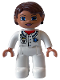 Minifig No: 47394pb124  Name: Duplo Figure Lego Ville, Female, Medic, White Legs, White Top with Pocket and EMT Star of Life Pattern, Reddish Brown Hair, Blue Eyes