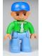 Minifig No: 47394pb127  Name: Duplo Figure Lego Ville, Male, Medium Blue Legs, Bright Green Top with White Undershirt, Blue Cap