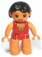 Minifig No: 47394pb132  Name: Duplo Figure Lego Ville, Female, Red Swimsuit with Yellow Bow, Black Hair