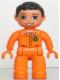 Minifig No: 47394pb134  Name: Duplo Figure Lego Ville, Male, Orange Legs, Orange Hands, Orange Top with Recycle Logo, Black Hair, Blue Eyes