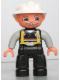 Minifig No: 47394pb135  Name: Duplo Figure Lego Ville, Male Fireman, Black Legs, Light Gray Arms, Flesh Hands, White Helmet, Light Gray Moustache