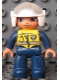 Minifig No: 47394pb138  Name: Duplo Figure Lego Ville, Male Police, Dark Blue Legs & Jumpsuit with Yellow Vest, White Helmet