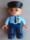Minifig No: 47394pb141  Name: Duplo Figure Lego Ville, Male Police, Dark Blue Legs, Light Blue Top with Badge and Tie, Flesh Hands, Black Hat