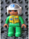 Minifig No: 47394pb142  Name: Duplo Figure Lego Ville, Male Medic, Bright Green Legs & Jumpsuit with Yellow Vest, White Helmet with EMT Star of Life Pattern