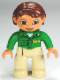 Minifig No: 47394pb144  Name: Duplo Figure Lego Ville, Female, Tan Legs, Green Top with 'ZOO' on Front and Back, Reddish Brown Hair, Brown Eyes (Zoo Worker)