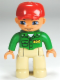 Minifig No: 47394pb145  Name: Duplo Figure Lego Ville, Male, Tan Legs, Green Top with 'ZOO' on Front and Back, Red Cap, Blue Eyes (Zoo Worker)