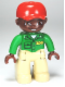 Minifig No: 47394pb146  Name: Duplo Figure Lego Ville, Male, Tan Legs, Green Top with 'ZOO' on Front and Back, Brown Head, Red Cap, Brown Head, Brown Eyes (Zoo Worker)