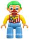 Minifig No: 47394pb151  Name: Duplo Figure Lego Ville, Male Clown, Medium Blue Legs, Striped Jacket, Bow Tie, Green Hair