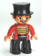 Minifig No: 47394pb152  Name: Duplo Figure Lego Ville, Male Circus Ringmaster, Black Legs, Red Top with Gold Braid, Top Hat, Brown Eyes
