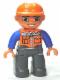 Minifig No: 47394pb156  Name: Duplo Figure Lego Ville, Male, Dark Bluish Gray Legs, Orange Vest with Zipper and Pockets, Orange Construction Helmet