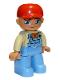 Minifig No: 47394pb167  Name: Duplo Figure Lego Ville, Male, Medium Blue Legs, Tan Top with Medium Blue Overalls, Bandana, Red Cap